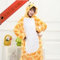 * Eğlenceli Zürafa Japon Pijama S-Xl