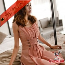 * Kolsuz Korse Bel Japon Gece Dans Elbise Pembe