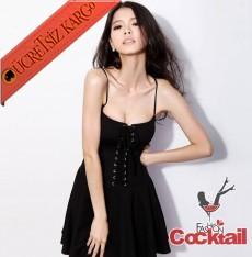 * İpli Ön Japon Askılı Rock Party Elbise Siyah