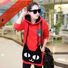 * Big Cat Japon Kapşonlu Kışlık Sweatshirt Kırmızı