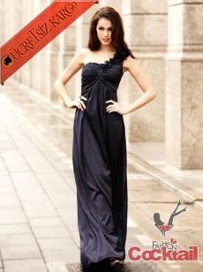 * ÇİÇEK TEK OMUZ japon uzun abiye elbise