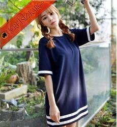 * Şeritli Kenar Japon Kısa Kol Elbise Lacivert