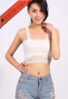 * Transparan Dantel Alt Japon Atlet Bluz Beyaz