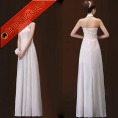 * Balıkçı Yaka Japon Dantel Uzun Elbise Beyaz M L