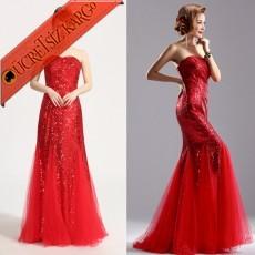* Pul & Tül Japon Balık Elbise Abiye S-Xxl Kırmızı