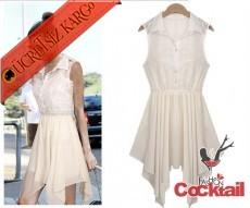 * Dantel Japon Asimetrik Etek Elbise Beyaz S-Xl