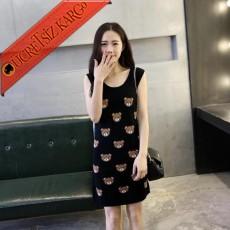 * Animal Print Japon Kolsuz Yün Elbise Siyah
