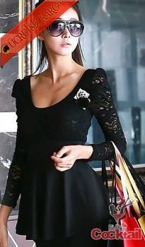 * ÇAN ETEK japon datel üst maxi mini elbise siyah