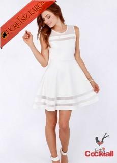 * Japon Tül Şerit Genç Kolsuz Elbise S-Xl Beyaz