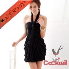 * BAĞCIKLI japon dökümlü elbise siyah