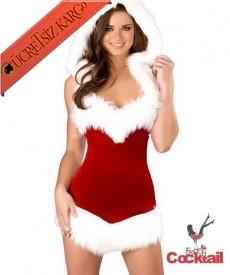 * Peluş Kürk Mini Noel Anne Kostüm Kırmızı