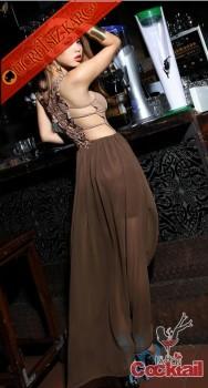 * DANTEL ÖRGÜ SIRT japon önü kısa elbise kahve