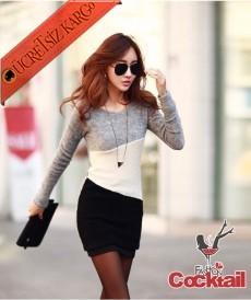 * Yün Asimetrik Renkler Japon Tunik Elbise Gri