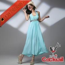 * işleme bel japon askılı uzun elbise mavi