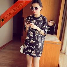 * Çiçekli Japon Kısa Kol Elegant Tunik Siyah