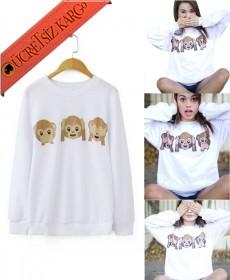 * 3 Maymun Japon Kışlık Sweatshirt Beyaz S-Xl