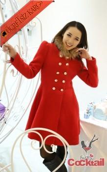 * kürk yaka japon palto kaban kırmızı S - İNDİRİM ÖZEL