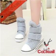 * Cırtcırtlı Şişme Kışlık Şirin Ayakkabı Gri