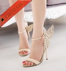 * Kanatlı Topuklu Melek Ayakkabı Altın