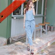 * Casual Dökümlü Japon Kolsuz Pantolon Tulum Mavi