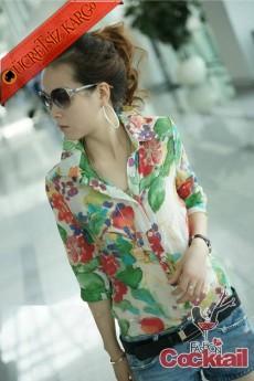 * SOFT japon ÇİÇEK kısa kol bluz yeşil M-XL