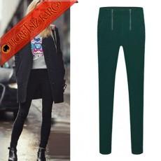 * Çift Fermuar Japon Dar Paça Pantolon Yeşil S-Xl