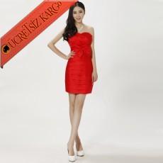 * Katlı & Drape & Fiyonk Japon Abiye S-Xxl Kırmızı