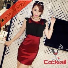 * Pileli Üst Japon Kolsuz Gece Elbise Bordo S-L