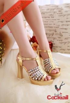 * Altın Dore Taşlı Abiye Ayakkabı Sarı