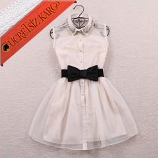 * Fiyonk Kemer Süslü Yaka Elbise Beyaz
