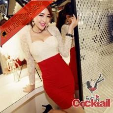 * Sexy Dekolte Japon Gece Elbise Bej S M L