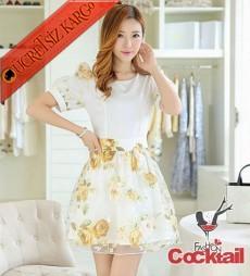 * Çiçekli Tül Etek Japon Gece Elbise S-Xl Sarı