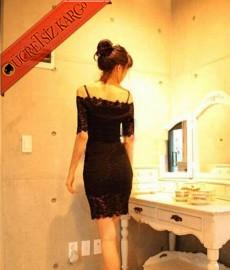 * Askılı Japon Düşük Omuz Dantel Elbise Siyah
