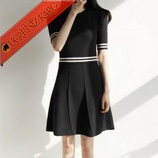 * Bel & Kol Şeritli Japon Çan Elbise Siyah