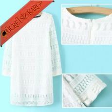 * Uzun Kol Japon Dantel Elegant Elbise Beyaz S-L