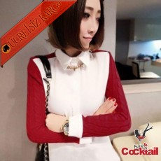 * Örgü Kol Japon Genç Bayan Gömlek Kırmızı