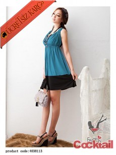 * sırt dekolte japon kolsuz eğlenceli elbise mavi