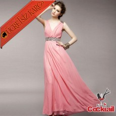 * Taşlı Omuz & Bel Japon Uzun Abiye Elbise Pembe S M L
