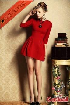 * Pileli Çan Etek Japon Şirin Kollu Elbise Kırmızı