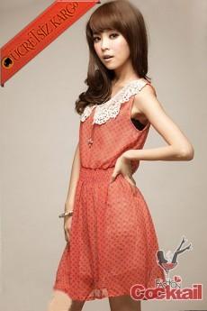 * DANTEL BEBE YAKA japon puantiye elbise turuncu