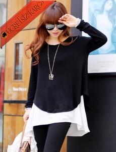 * Beyaz Kenar Japon Dökümlü Genç Bluz Siyah