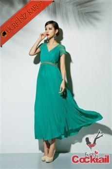 * Dantel Kollar Japon Uzun Elbise Yeşil S-L