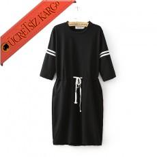* Beyaz Şerit Japon İpli Bel Casual Elbise M Siyah