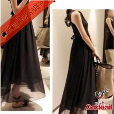 * Japon Çan Etek Kolsuz Uzun Elbise Siyah S M L