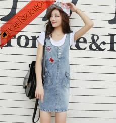 * Armalı Japon Kolsuz Genç Kot Elbise S-Xl