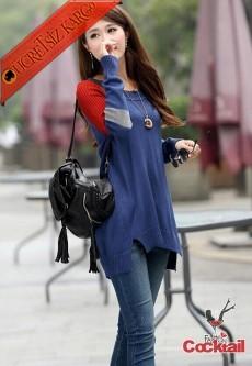 * Renk Blok Omuz Japon Şık Kazak Mavi