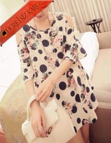 * Puantiye & Çiçek Japon Kısa Kol Elbise L Xl