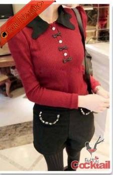 * ORİJİNAL YAKA japon eğlenceli bluz kırmızı