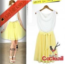 * degaje yaka japon pileli gece elbise sarı