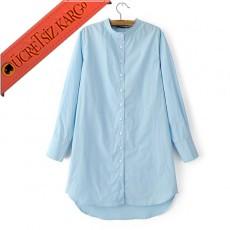 * Asimetrik Etek Japon Düğmeli Gömlek Mavi S-L